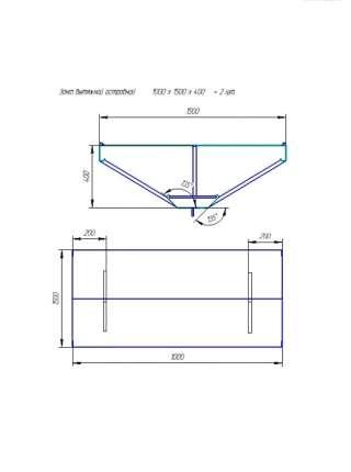 Зонт вытяжной 1000х1500х400 мм. с жироуловителем